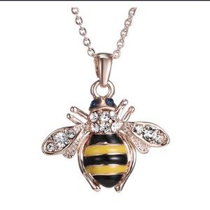 Unique rose gold bee necklace and Earring set